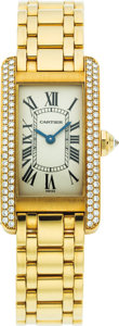 Estate Jewelry:Watches, Cartier Lady's Diamond, Gold Tank Américaine Watch, circa 1995. ...