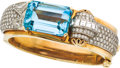 "Estate Jewelry:Bracelets, Art Deco Aquamarine, Diamond, Gold ""Reflections"" Bracelet, Trabert& Hoeffer-Mauboussin. ..."
