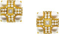 Estate Jewelry:Earrings, Cultured Pearl, Diamond, Gold Earrings, Bvcciari. ...