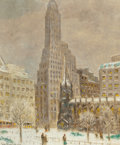 Paintings, GUY CARLETON WIGGINS (American, 1883-1962). Financial Center. Oil on canvas. 24-1/4 x 20-1/4 inches (61.6 x 51.4 cm). Si...