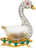 Estate Jewelry:Brooches - Pins, Cultured Pearl, Diamond, Ruby, Emerald, Gold Brooch. ...
