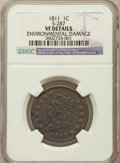 Large Cents, 1811 1C -- Environmental Damage -- NGC Details. VF. S-287, B-1,R.2. PCGS Population (0/7)....