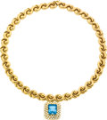 Estate Jewelry:Necklaces, Aquamarine, Diamond, Gold Necklace. ...