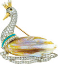 Estate Jewelry:Brooches - Pins, Cultured Pearl, Diamond, Turquoise, Platinum, Gold Brooch. ...