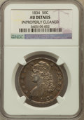 Bust Half Dollars, 1834 50C Large Date, Large Letters -- Improperly Cleaned -- NGCDetails. AU. NGC Census: (131/1591). PCGS Population (128/6...