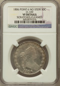 Early Half Dollars: , 1806 50C Pointed 6, No Stem -- Cleaned, Scratched -- NGC Details.VF. O-109. NGC Census: (0/0). PCGS Population (15/270). ...