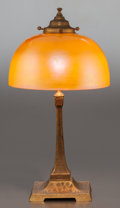 Art Glass:Steuben, STEUBEN GLASS SHADE WITH GILT BRONZE BASE. Circa 1910, Unmarked.14-3/4 inches high (37.5 cm). ...