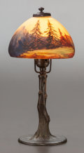 Art Glass:Other , HANDEL REVERSE PAINTED GLASS AND BRONZED METAL LANDSCAPEBOUDOIR LAMP. Circa 1915, Painted: HANDEL, 7155, ED. 14...