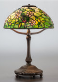 Art Glass:Tiffany , TIFFANY STUDIOS LEADED GLASS AND BRONZE APPLE BLOSSOM TABLELAMP. Circa 1910, Shade stamped: TIFFANY STUDIOS, NE... (Total: 2Items)