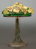 Art Glass:Other , PAIRPOINT GLASS AND BRONZED METAL GRAPE PUFFY LAMP. Circa1910. 19 inches high (48.3 cm). ...