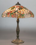Art Glass:Other , WILKINSON LEADED GLASS AND BRONZED METAL TRUMPET VINE TABLELAMP. Circa 1930. 27-1/2 inches high (69.9 cm). Pr...