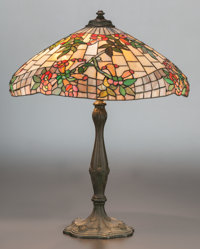 WILKINSON LEADED GLASS AND BRONZED METAL TRUMPET VINE TABLE LAMP Circa 1930 27