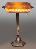 Art Glass:Other , HANDEL DESK LAMP WITH BROWN MOSSERINE SHADE ON ADJUSTABLE BRONZEDBASE. Circa 1920, Painted to shade: HANDEL - 6367 1/2 - G....