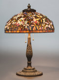 Art Glass:Other , CONTEMPORARY SOMERS LEADED GLASS MAGNOLIA TABLE LAMP . 20thcentury. 28 inches high (71.1 cm). ...