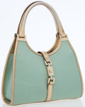 Luxury Accessories:Bags, Gucci Metallic Mint Green Canvas Small Bardot Bag with MetallicLeather Accents. ...