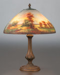 Glass, JEFFERSON REVERSE PAINTED GLASS AND BRONZED METAL LANDSCAPE TABLE LAMP. Circa 1920, Painted signature to shade. ...