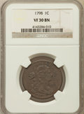 Large Cents, 1798 1C Second Hair Style VF30 NGC. S-166, B-32, R.1....