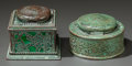 Art Glass:Tiffany , TWO TIFFANY STUDIOS GLASS AND BRONZE GRAPEVINE PATTERNINKWELLS. Circa 1915, Both fully marked: TIFFANY STUDIOS,...(Total: 3 Items)