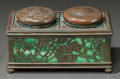 Art Glass:Tiffany , RARE TIFFANY STUDIOS GLASS AND BRONZE GRAPEVINE PATTERNDOUBLE INKWELL. Circa 1915, Stamped: TIFFANY STUDIOS, NE...