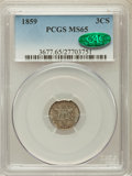 Three Cent Silver, 1859 3CS MS65 PCGS. CAC....