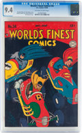Golden Age (1938-1955):Superhero, World's Finest Comics #34 (DC, 1948) CGC NM 9.4 Off-white to white pages....
