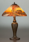 Art Glass:Other , HANDEL REVERSE PAINTED GLASS AND BRONZED METAL EVENINGLANDSCAPE TABLE LAMP. Circa 1915, Painted: HANDEL, 6939; ...