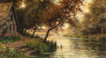 Fine Art - Painting, American:Other , LOUIS ASTON KNIGHT (American, 1873-1948). A Bend in theStream. Oil on canvas. 18-1/4 x 32-1/4 inches (46.4 x 81.9 cm)....