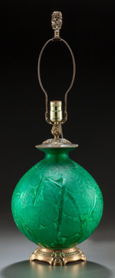 R. LALIQUE GREEN GLASS MILAN VASE MOUNTED AS A LAMP Circa 1929 17-1/2 inches h