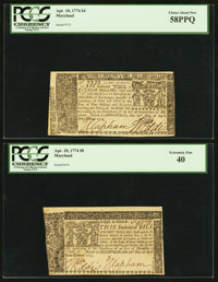 Maryland April 10, 1774 Two Different Denominations