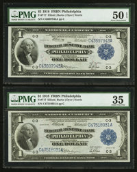 Two Fr. 717 $1 1918 Federal Reserve Bank Notes PMG Choice Very Fine 35-About Uncirculated 50 EPQ