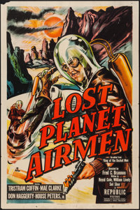 "Lost Planet Airmen (Republic, 1951). One Sheet (27"" X 41""). Feature version of King of the Rocket Men. Science..."