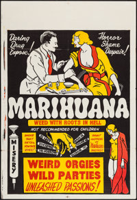 "Marihuana (Roadshow Attractions, 1936). One Sheet (27"" X 41""). Exploitation"