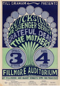 Music Memorabilia:Posters, Quicksilver Messenger Service/Grateful Dead/The Mothers FillmoreAuditorium Concert Poster BG-9 (Bill Graham, 1966)....