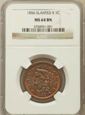 Large Cents: , 1856 1C Slanted 5 MS64 Brown NGC. PCGS Population (45/16). ...