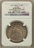Bust Half Dollars, 1811 50C Small 8 -- Improperly Cleaned -- NGC Details. XF. O-106.NGC Census: (0/0). PCGS Population (45/295)....