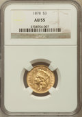 Three Dollar Gold Pieces: , 1878 $3 AU55 NGC. NGC Census: (432/4282). PCGS Population(577/4422). Mintage: 82,304. Numismedia Wsl. Price for problemfr...