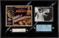 Movie/TV Memorabilia:Autographs and Signed Items, A Boris Karloff and Elsa Lanchester Signed Display Piece, Circa1940s.... (Total: 2 Items)