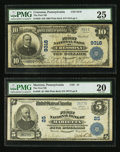 National Bank Notes:Pennsylvania, Cressona, PA - $10 1902 Plain Back Fr. 626 The First NB Ch. # 9318.Marietta, PA - $5 1902 Plain Back Fr. 598 The ... (Total: 2 notes)