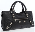 Luxury Accessories:Bags, Balenciaga Black Leather Part Time City Bag with SilverMachine-Turned Hardware. ...