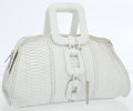 Luxury Accessories:Bags, Calvin Klein Large White Python Bag with Geometric Top Handles. ...