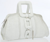 Calvin Klein Large White Python Bag with Geometric Top Handles