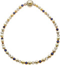 Estate Jewelry:Bracelets, Natural and Cultured Pearl, Diamond, Sapphire, Platinum-Topped GoldConvertible Necklace, French. ...