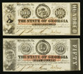 Milledgeville, GA- The State of Georgia $50; $100 Feb. 2, 1863, Feb. 1, 1863 Cr. 7A; Cr. 6B