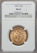 Liberty Eagles, 1907-S $10 MS63 NGC....