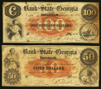 Athens, GA- The Bank of the State of Georgia, Branch at Athens $50; $100 Dec. 21, 1855 G162a; G168a