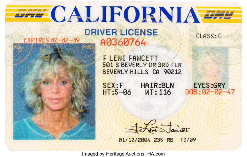tv Movie 46026 A Fawcett Farrah Driver's Auctions 2009 Lot Memorabilia Heritage License