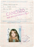 Movie/TV Memorabilia:Autographs and Signed Items, A Farrah Fawcett Twice-Signed Passport, 1980....