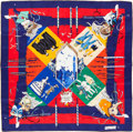"Luxury Accessories:Accessories, Hermes Blue & Red Multicolor ""Le Carnaval de Venise,"" by HubertWatrigant Silk Scarf. ..."