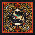 "Luxury Accessories:Accessories, Hermes Black, Gold & Red ""Cheval Turc,"" by Christiane VauzellesSilk Scarf. ..."