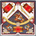 """Luxury Accessories:Accessories, Hermes Red, Gray & Gold """"1821 - Hommage a l'AmitieFranco-Ellenique"""" by Julia Abadie Silk Scarf. ..."""